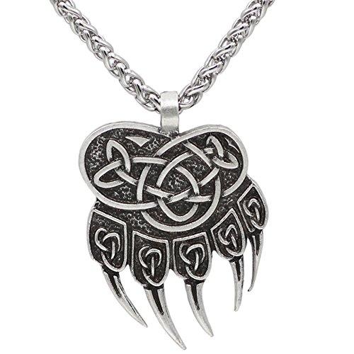 Viking Steampunk Mjolnir Scandinavian Pagan Fenrir Nordic Bear Paw Claw Pendant NECKLACE - Stainless Steel Chain