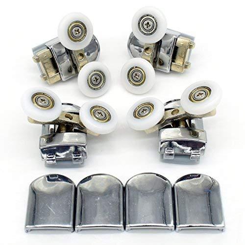 Set de rodamientos de mampara corredera de ducha doble, con guías y ruedas de 25 mm de diámetro (4 unidades)