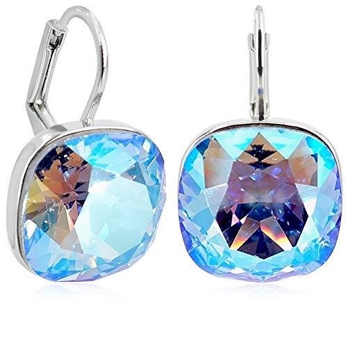 Ohrringe Silber Blau mit Kristalle von Swarovski® Light Sapphire Shine NOBEL SCHMUCK