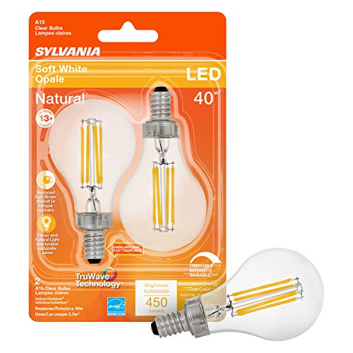 SYLVANIA LED TruWave Natural Series Ceiling Fan / Fixture Light Bulb, 40W A15 Soft White Candelabra Base, Dimmable, Clear - 2 Pack