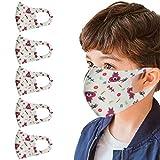 PPangUDing 5PC Mundschutz Kinder Waschbar Wiederverwendbar Baumwolle Sommer Atmungsaktive Staubdicht Mund und Nasenschutz Bandana Halstuch Multifunktionstuch für Junge und Mädchen