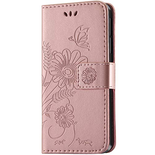 kazineer Honor 6X Hülle, Leder Tasche Handyhülle für Huawei Honor 6X Schutzhülle Blume Muster Etui Schale Hülle (Pink-Gold)