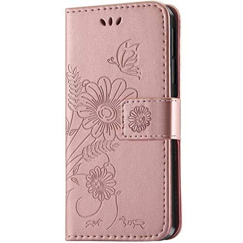 kazineer Honor 6X Hülle, Leder Tasche Handyhülle für Huawei Honor 6X Schutzhülle Blume Muster Etui Schale Case (Pink-Gold)