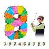 Relaxdays 10025189_910 Pinata Geburtstag, Zahl 8, zum Aufhängen, Kinder & Erwachsene, Papier, zum selbst Befüllen, Piñata, bunt