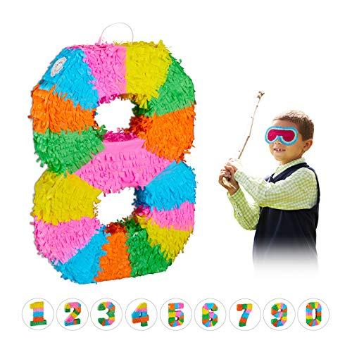 Relaxdays 10025189_910 Pinata verjaardag, cijfer 8, om op te hangen, kinderen & volwassenen, papier, om zelf te vullen, piñata, kleurrijk
