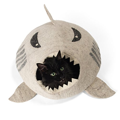 Twin Critters Handcrafted Cat Cave Bed (Large) - Felted from 100% Natural Wool - Handmade Pod for Cats and Kittens (Raw Shark)