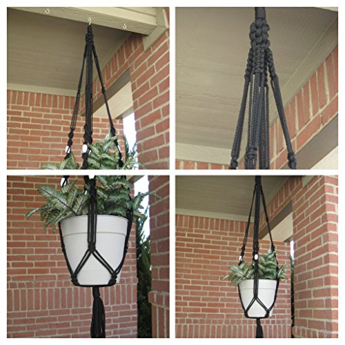 """Handmade Black 57"""" Macrame Plant Hanger with White Wood Beads Perfect Gift Idea for Birthdays Mothers Day and all occasions"""