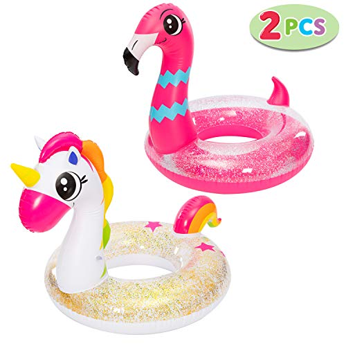 "JOYIN Inflatable Unicorn & Flamingo Pool Float with Glitters 35.5"" (2 Sets), Pool Tubes for Floating, Fun Beach Floaties, Pool Toys, Summer Pool Party Decorations for Kids"