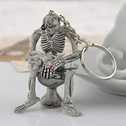 YCEOT Mini Leuke Skeleton toilettas Creatieve rubberen sleutelhanger