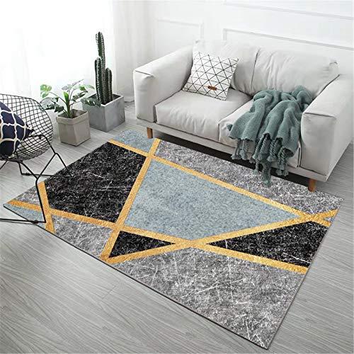 SXXYXH Tappeti Moderni per la casa, tappetini Antiscivolo Lavabili Geometrici Camera da Letto Comodino corridoio Stile Inchiostro tappetini Decorazioni per la casa,M12,50×80cm/1.6×2.6ft