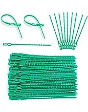 XiYee Green Garden Twist Ties, 100 stuks 17 cm verstelbare plantenbanden flexibele plantenkabelbinder, plastic plantenkabelbinders voor het ondersteunen van planten, het bevestigen van wijnstok, stengels en bloemen
