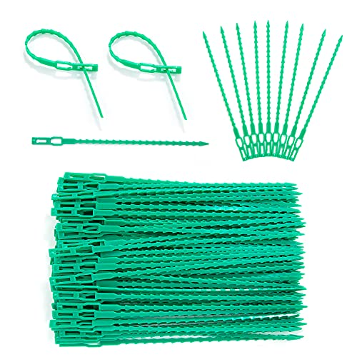 Plástico Jardinería Bridas, XiYee 100 Piezas 17cm Flexible Ajustable Plant Corbatas Plástico Jardinería Planta Lazos, Sujeción Reutilizable para Plantas, Lazos de Encuadernación de Plantas