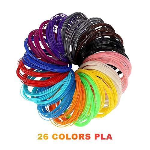 3D Pluma Filamento Rellenar PLA - 26 Colores 520 Pies Lineales 160M 6 Brillo en la Oscuridad 1 Madera 1 Piel 1.75mm 6M Cada Color Mejor para la salud del Niño
