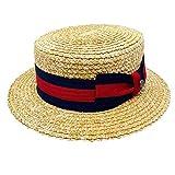Bellmora Men's Classic Straw Braid Boater Hat (Large, Natural/Black/Red)