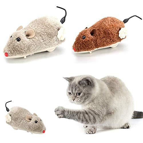 Carry stone Uhrwerk Maus für Katzen Aufziehbare Plüschmaus Spielzeug Katze Fang Spielzeug Katze Kätzchen Spielen und Jagen, zufällige Farbe Langlebig und praktisch