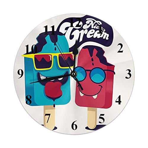 Reloj de Helado Divertido Helado Dulce con Gafas de Sol Smile Word Reloj de Pared Redondo Slient Non Ticking Rústico Decoración para el hogar 10 Pulgadas para Cocina Baño Oficina Azul Rojo