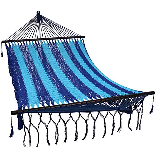 Sunnydaze Deluxe Hand-Woven Cotton Hammock with Spreader Bars - Heavy-Duty 770-Pound Weight Capacity - American Style - Blue