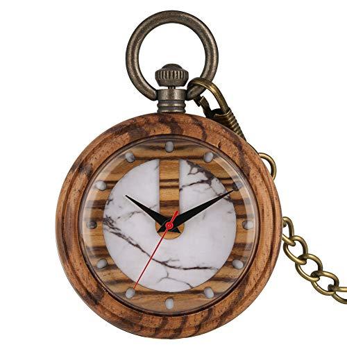 LLXXYY halsketting zakhorloge vintage heren dames kerstcadeau unisex, nieuw houten kwarts zakhorloge eenvoudige witte mode marmering patroon keuze lichtbruin hout hanger horloges