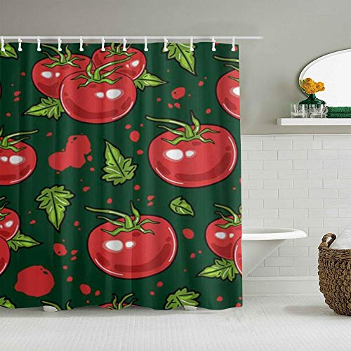 MEJX Duschvorhang,Tomaten Gemüse Gemütlich Schön,personalisierte Deko Badezimmer Vorhang,mit Haken,180 * 180