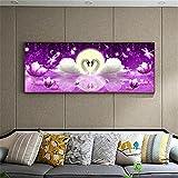 5D DIY Diamond Painting Kit Grande Completo Purple Swan Lake Moonlight,Pintura Diamante de imitación Adultos Bordado Punto de Cruz Art Crafts for Home Wall Decor Square Drill_(60x180cm,24x72inch)