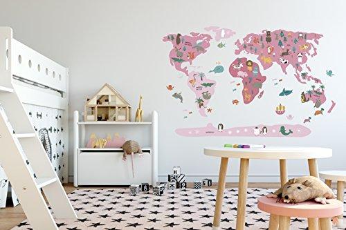 Menudos Cuadros Vinilo Decorativo Infantil mapamundi Rosa de Animales (Grande 150cmx90cm)