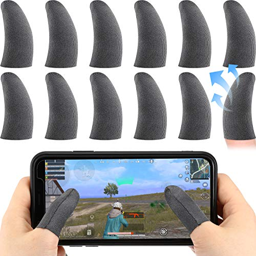 12 Pieces Mobile Game Finger Sleeve Controller Breathable Anti-Sweat Smooth Touch Screen Finger Protector, 0.5 mm Silver Fiber Finger Sleeve for Mobile Phone Games
