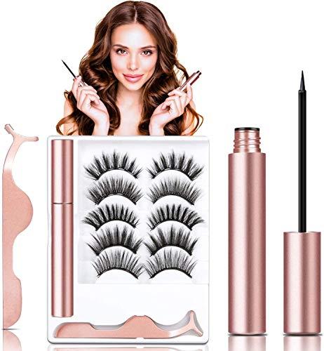 5 Pairs False Magnetic Eyelashes Kit, JOMARTO Faux Mink Eyelashes With Eyeliner Reusable Volume Eyelashes Kit, Thick Crossed Lashes With Natural Look, Long Faux Lashes With Professional Tweezer
