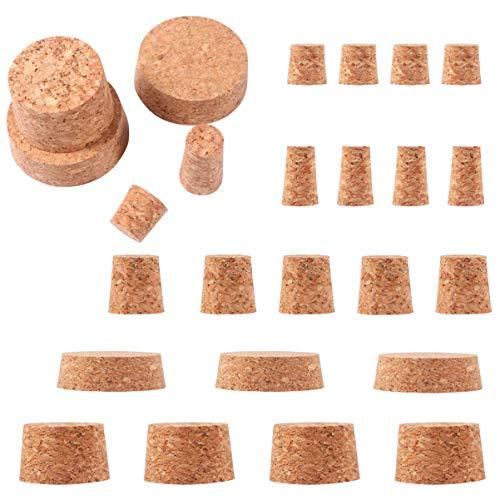 EXCEART 25 tapones de corcho para botella de corcho pequeños tapones de corcho, varios corchos para botellas de vino y cerveza, decoración de adornos
