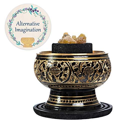 Alternative Imagination Premium Bundle of Black Carved Brass Incense Holder with Myrrh Resin. Comes with 10 Charcoal