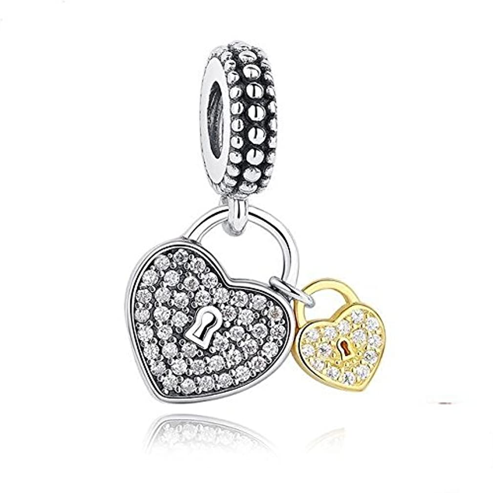 Two Heart/Love Locks Charm 925 Sterling Silver Beads fit for Fashion Charms Bracelets