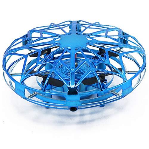 LYHLYH Mini Drone pour Enfants UFO Volants Balle Jouets, Main contrôlée Ball hélicoptère à Induction Infrarouge interactif à 360 ° Rotating et lumières LED pour Enfants Jouets Cadeaux,Bleu