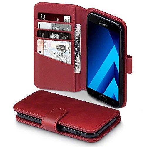 TERRAPIN, Kompatibel mit Samsung Galaxy A5 2017 Hülle, Premium ECHT Leder Flip Handyhülle Samsung Galaxy A5 2017 Tasche Schutzhülle - Rot
