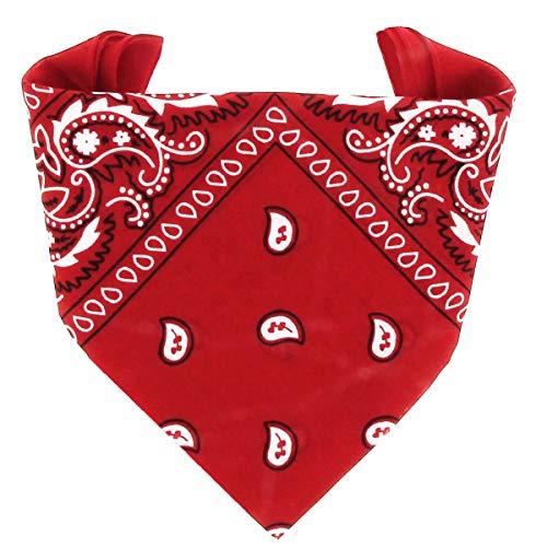 ...KARL LOVEN Bandana 100% Baumwolle für Damen Herren Rot Halstuch Kopftuch original Paisley Muster Headwear Haar Schal Ansatz Handgelenk Kopf Bindetuch Biker
