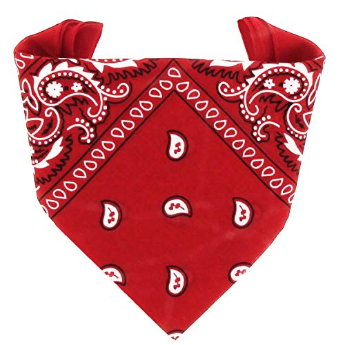 ...KARL LOVEN - Bandana 100% algodón - Paisley Rojo - Pañuelo para el cuello, cabeza bufanda para hombre, mujer y niño muñeca Pulsera motociclista Deportiva