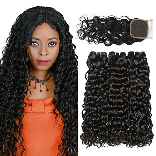 LVY Brazilian Human Hair Bundles with Closure 100% echte haare 9A Water Wave Braziian hair 3 bundles With Frotal Closure Hair Natural Black 10 12 14+10 Zoll