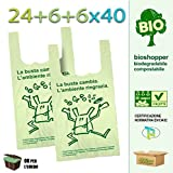 Palucart - 500 bolsas de compra biodegradables compostables de acuerdo con las directivas de 2018 (24 + 6 + 6 x 40 cm)