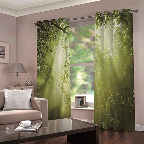LOVEXOO Blickdicht Ösen Gardinen Grüner Wald Vorhang Blickdicht, Schlaufen Verdunkelungsgardinen,Kälte- und Wärmeisolierung.mit für Wohnzimmer Schlafzimmer 2er Set 140Bx H245cm