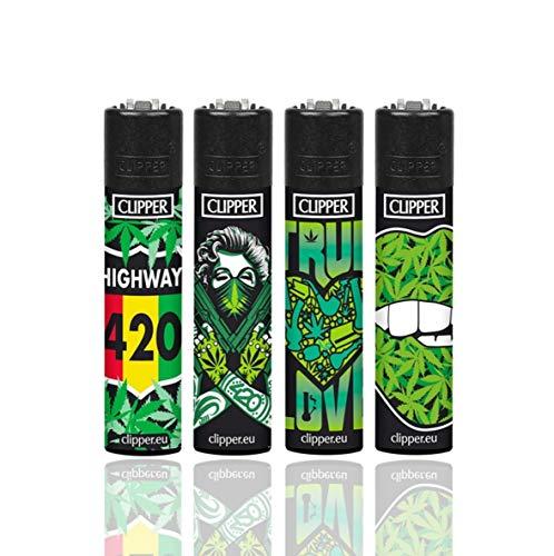 Dhobia Clipper® Feuerzeuge - Weed Girl -4er Set + 1x Feuerzeug