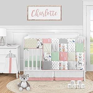 Sweet Jojo Designs Woodland Arrow Deer Baby Girl Nursery Crib Bedding Set – 5 Pieces – Coral Mint and Grey Woodsy