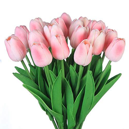 Veryhome Künstliche Blumen Gefälschte Blume Tulpe Latex Material Real Touch für Hochzeitszimmer Home Hotel Party Dekoration und DIY Decor ( Rosa - 20Stück )