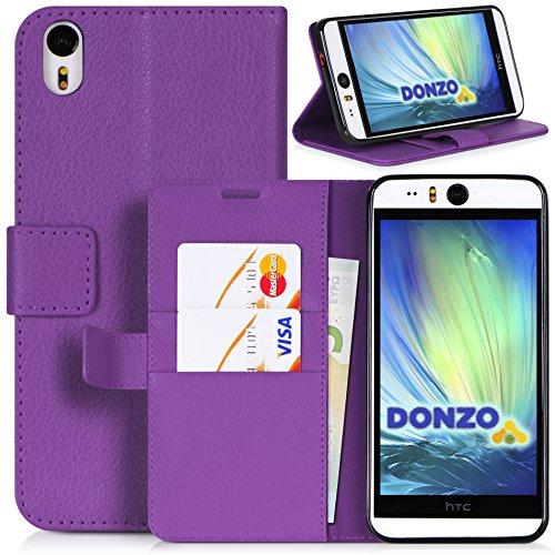 DONZO Tasche Handyhülle Cover Hülle für das HTC Desire Eye in Violett Wallet Structure als Etui seitlich aufklappbar im Book-Style mit Kartenfach nutzbar als Geldbörse