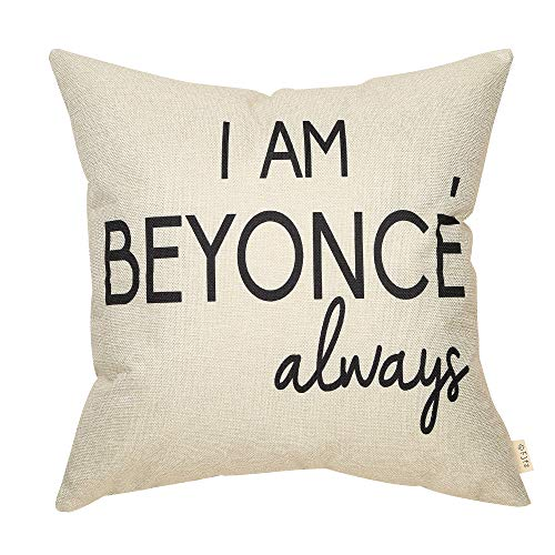 "Fjfz The Office Funny Decoration TV Show Lover I am Beyonce Always, Michael Scott Sign Décor Cotton Linen Home Decorative Throw Pillow Case Cushion Cover for Sofa Couch, 18"" x18"""