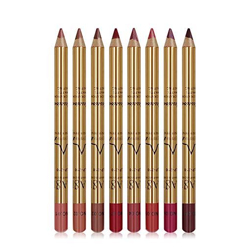 Apofly 8pcs Liner Crayon À Lèvres Lip Kit Liner Lisse Imperméable Long Lasting Retro Rouge À Lèvres Pen Avec Golden Tube Lips Sweat-proof Set Cosmétiq