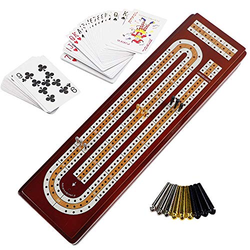 Juegoal Upgrade Wood Cribbage Board Game Set, Solid Wooden Continuous 3 Track Board with Larger Storage Area, 9 Metal Pegs and 2 Decks of Playing Cards, Travel Portable Cribbage Game Sets