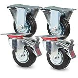 Transportrollen Schwerlastrollen 4 Stück| 2x Bockrollen & 2x Lenkrolle mit Bremse | 160mm Durchmesser | Gummi Schwarz | Vollgummi mit Stahlfelge