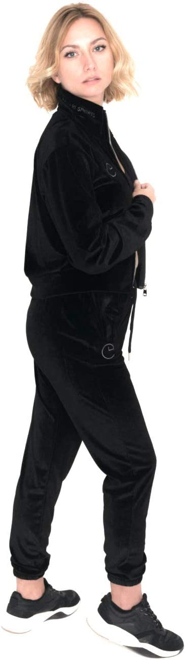 Samtjacke mit gesticktem Logo Cropped in schwarz und Altrosa PAMARI