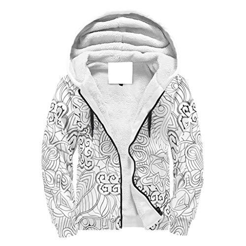 Lind88 Veste à capuche pour homme avec fermeture éclair et doublure en polaire pour étudiants Noir Blanc Motif mandala hip-hop – Fermeture éclair ample pour cadeaux d'anniversaire Blanc XL