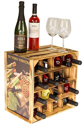 Kistenkolli Altes Land Geflammtes Weinregal mit Rahmen und Bild für bis zu 16 Flaschen 40x40x27cm unbehandelt upycycling Wein Regal | Flaschenregal (In Vino Veritas)