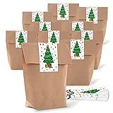 25 kleine braune natur Weihnachtstüten Weihnachten Beutel Geschenktüten Papiertüten 14 x 22 x 5,6 cm + 25 Aufkleber grün weiß rot WEIHNACHTSBAUM 5 x 15 cm Verpackung give-away Kunden