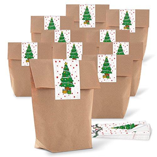 Logbuch-Verlag 25 Kraftpapier Tüten Geschenkbeutel Papierbeutel Papier Tüte Baum Geschenk Verpackung Aufkleber Beutel zum Befüllen Kunden Mitarbeiter 14 x 22 x 5,5 cm